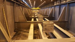 View of assembled bridge in shop
